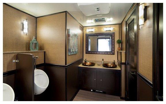 restroom trailer inside